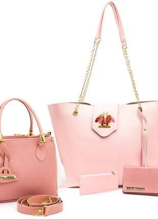 Kit bolsa sacola grande +bolsa lorena pequena +carteira rosa