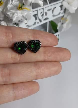 Par de brincos semi joia ródio negro