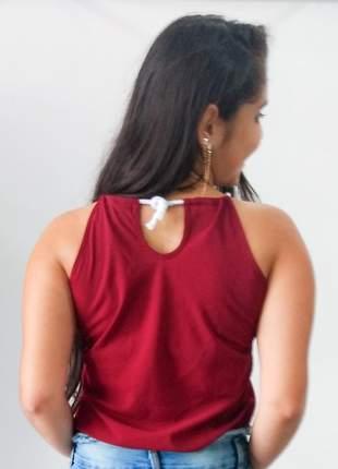 Blusa básica em crepe com cordão e tule feminina