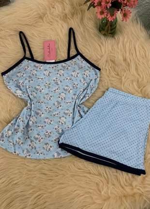Pijama feminino alcinha blusa de panda e short de poá azul bebe verao lançamento