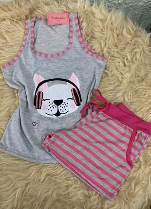 Pijama feminino regata cachorro buldogue short listrado rosa com bolso verao lançamento