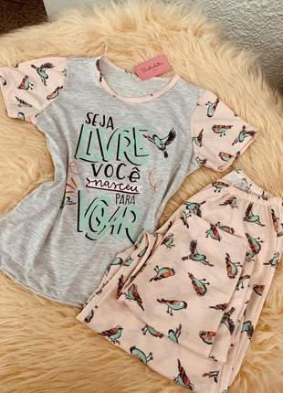 Pijama feminino blusa manguinha t-shirt com calça longa lançamento
