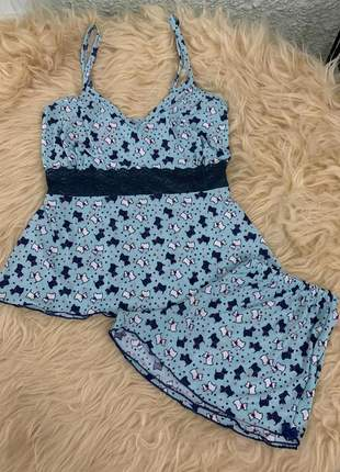 Pijama feminino alcinha liganete e renda azul de cachorrinho baby doll verao lançamento
