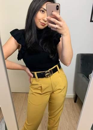 Regata de tricot gola alta modal babados moda blogueira