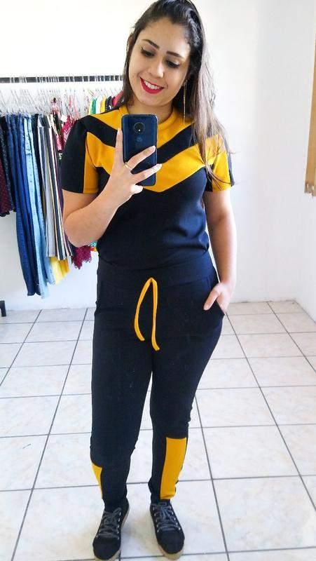 Loja Enne / Conjunto tracksuit feminino crepe blusa manga curta luxo