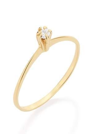 Anel solitário zircônia - folheado ouro rommanel, cor dourado tam 12