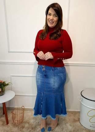 Saia jeans midi sereia plus size destroyed peplum evangelica