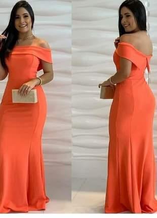Vestido longo coral moda festa madrinha de casamento formanda
