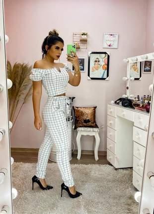 Conjunto social office verão 2020 feminino blogueira aerolook aniversários cropped calça