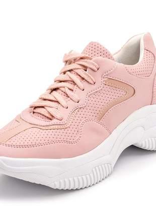 Tênis feminino sneakers chunkys rosa detalhe verniz rosa