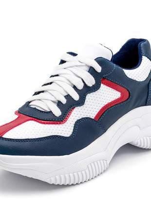 Tênis feminino sneakers chunckys azul marinho branco vermelho