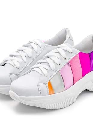 Tênis chunky sneakers branco listras metalizada coloridas
