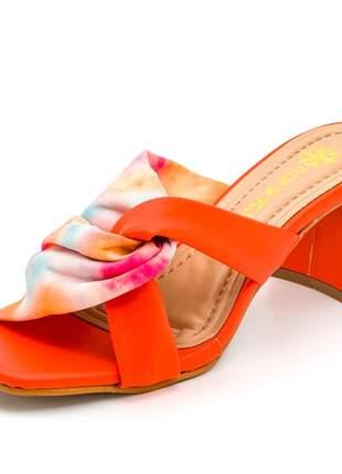 Sandália tamanco nó bico quadrado laranja tie dye salto bloco grosso