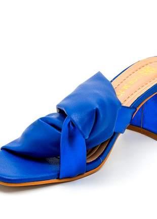 Sandália tamanco bico quadrado nó azul cintilante salto quadrado bloco