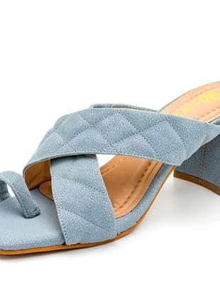 Sandália tamanco bico quadrado azul claro cintilante salto grosso
