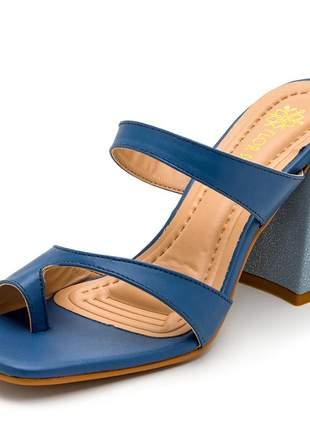 Sandália tamanco bico quadrado aberta azul salto alto  grosso azul claro