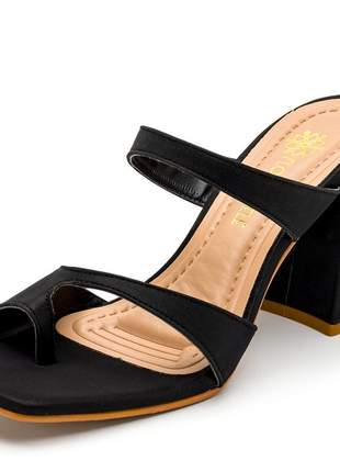 Sandália social tamanco bico quadrado preta salto alto  grosso