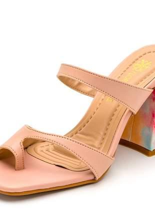 Sandália tamanco bico quadrado aberta nude salto grosso tie dye