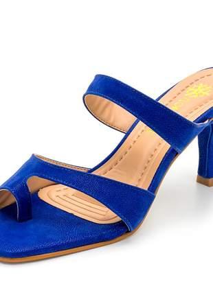 Sandália aberta bico quadrado salto baixo fino azul bic