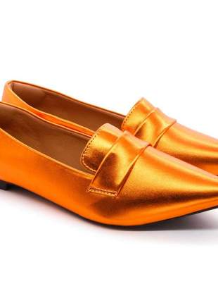 Mocassim sapatilha feminina bico fino metalizada orange