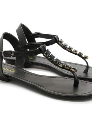 Sandália rasteira pedraria confortável moda feminina preto