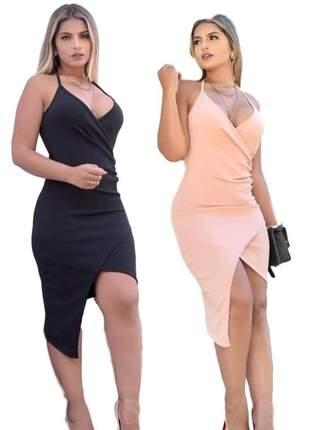 Vestido de alça preto liso social ref 610