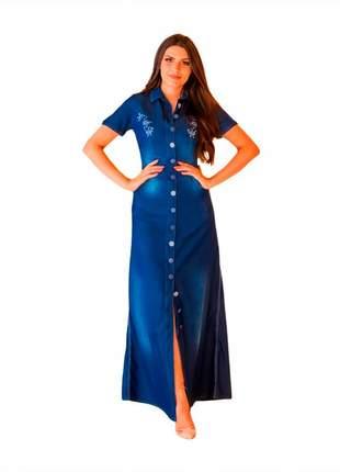 Vestido jeans longo evangélico botão bordado joyaly feminina