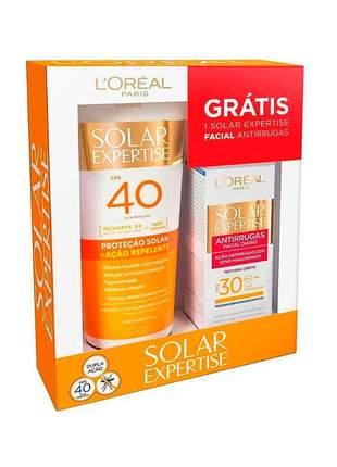 Kit protetor solar l'oréal ação repelente fps40/200ml + facial antirrugas fps30