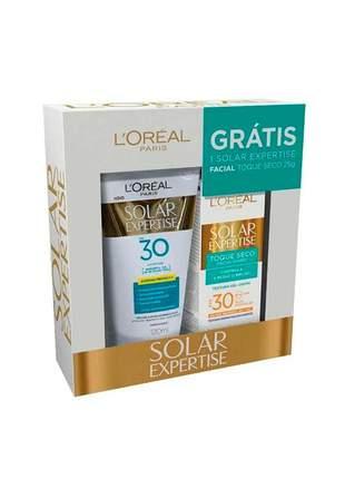 Kit protetor solar loréal fps30 - 120ml + protetor facial toque seco fps30