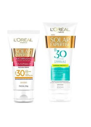 Kit protetor solar loréal fps30 - 200ml + protetor facial antirrugas fps30