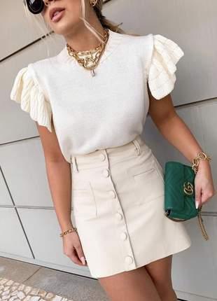 Saia couro ecológico com botões off white