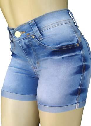 Shorts cintura alta hot pants c/ elastano