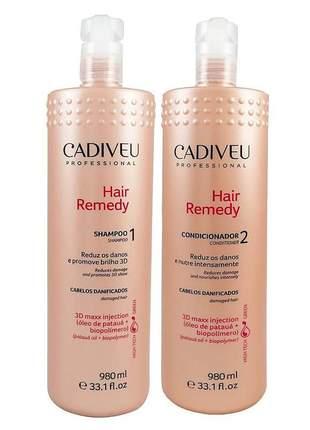 Kit hair remedy cadiveu profissional shampoo + condicionador 980ml