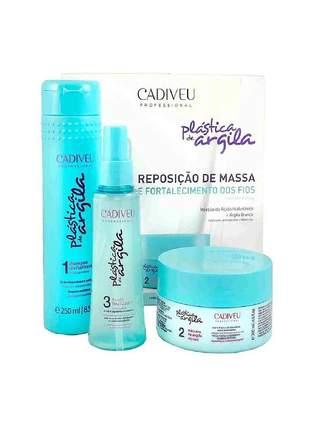 Kit home care shampoo + máscara + fluido plástica de argila cadiveu