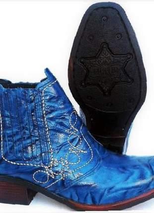 Bota country botina couro legitimo cor azul solado costurado
