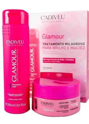 Kit promocional home glamour care cadiveu shampoo + máscara