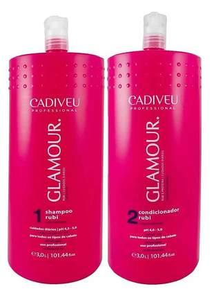 Kit shampoo e condicionador rubi glamour lavtório cadiveu 3l