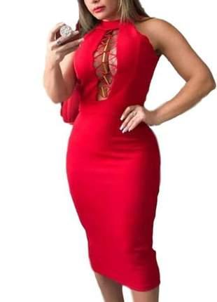 Vestido de casamento decotado modelo mídi vermelho ref 643