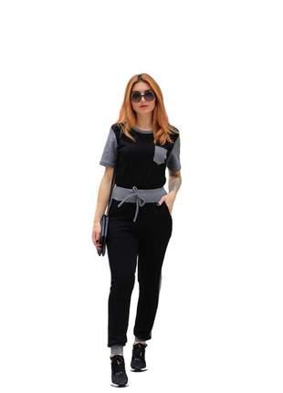 Conjunto feminino social calça e blusa manga curta preto
