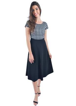 Vestido godê bicolor xadrez/preto