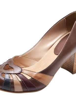 Sapato boneca pierrô salto alto couro legítimo cor chocolate