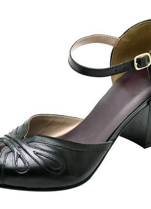 Sandália peep toe pierrô couro legítimo cor preto
