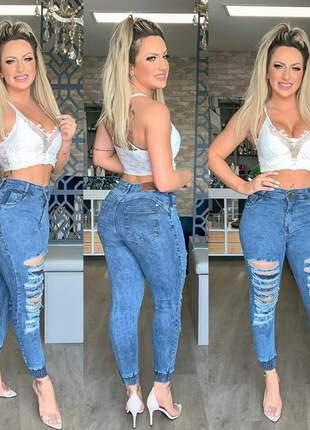 Calça jeans filetada