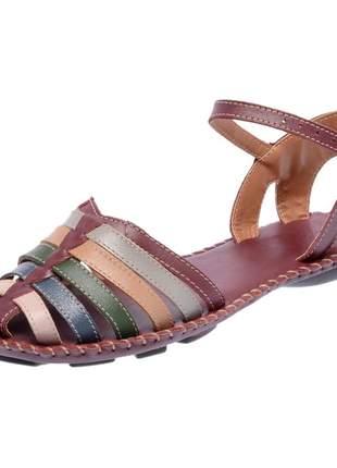 Sandália rasteira pierrô couro legítimo
