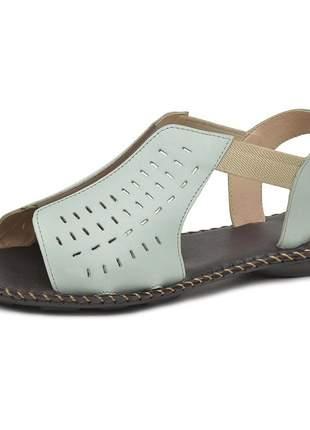 Sandália rasteira pierrô couro legítimo cor neo mint