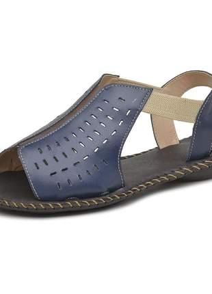 Sandália rasteira pierrô couro legítimo cor azul