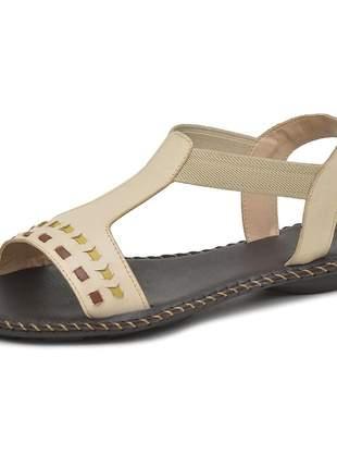 Sandália rasteira pierrô couro legítimo cor pérola