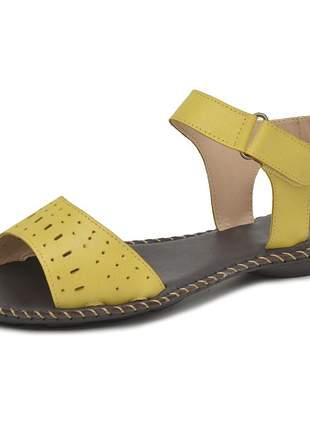 Sandália rasteira pierrô couro legítimo cor amarelo