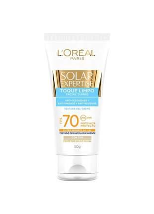 Protetor facial toque limpo com cor - solar expertise fps 70 l'oreal paris 50g
