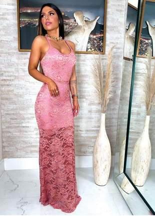 Vestido longo renda com alça cruzada nas costas modelo festas